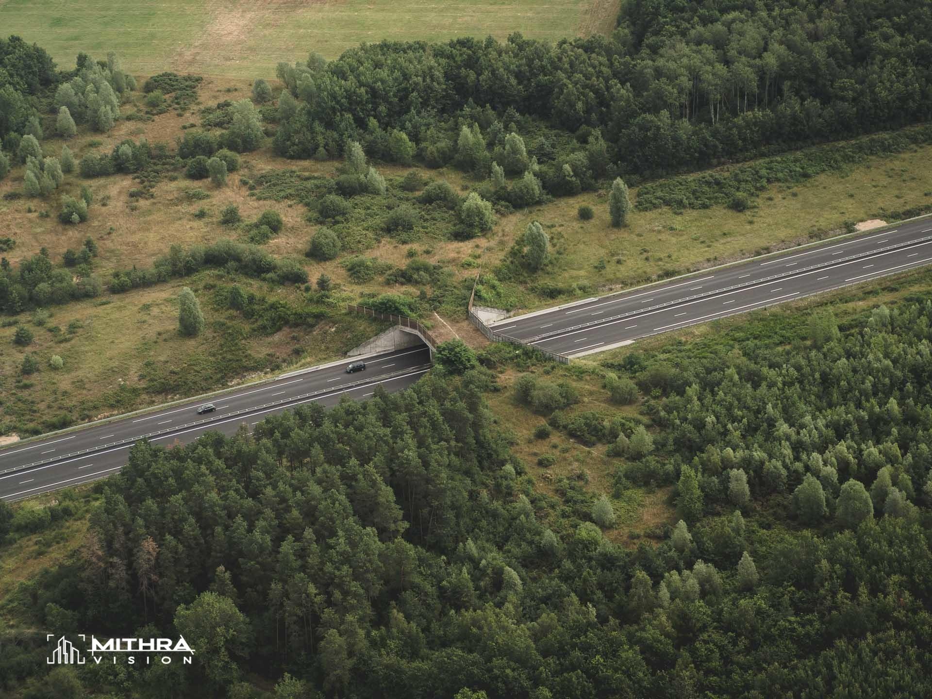 Eco-pont permettant le passage de la faune au-dessus de l'autoroute